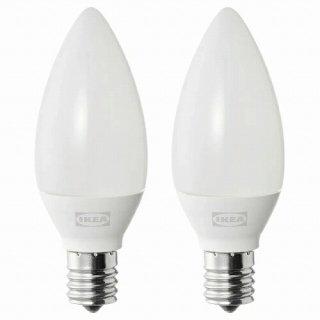IKEA イケア LED電球 E17 250ルーメン シャンデリア オパールホワイト 2ピース m30498753 SOLHETTA