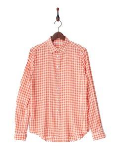 THE SECOND BANANA-ギンガムチェック レーヨンシルクシャツ-