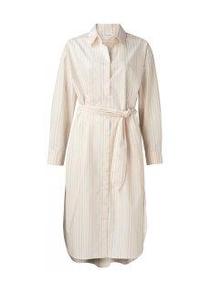 YAYA -ストライププリントマキシポプリンシャツドレス-