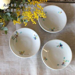 【九谷青窯】高原真由美 色絵蕾散らし3.5寸皿