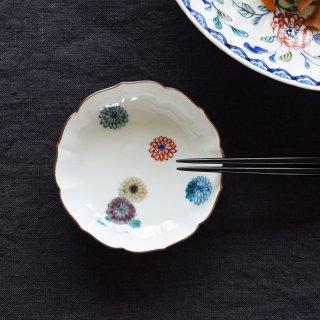 ●萌窯 3寸小皿 色絵菊●豆皿 小皿 箸置き