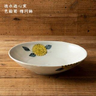 徳永遊心窯 色絵菊 楕円鉢
