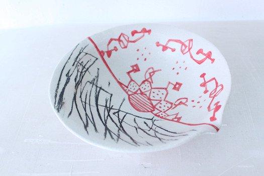 赤絵片口8寸鉢