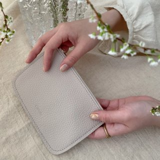 Leather Pouch LILAC/IVORY