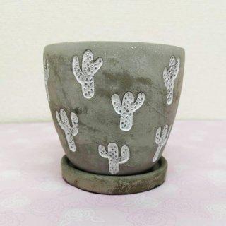植木鉢(中)サボテン柄 グレ