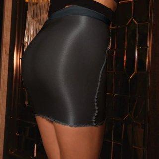【カラー:ブラック】光沢生地タイトスカート【サイズ:L】