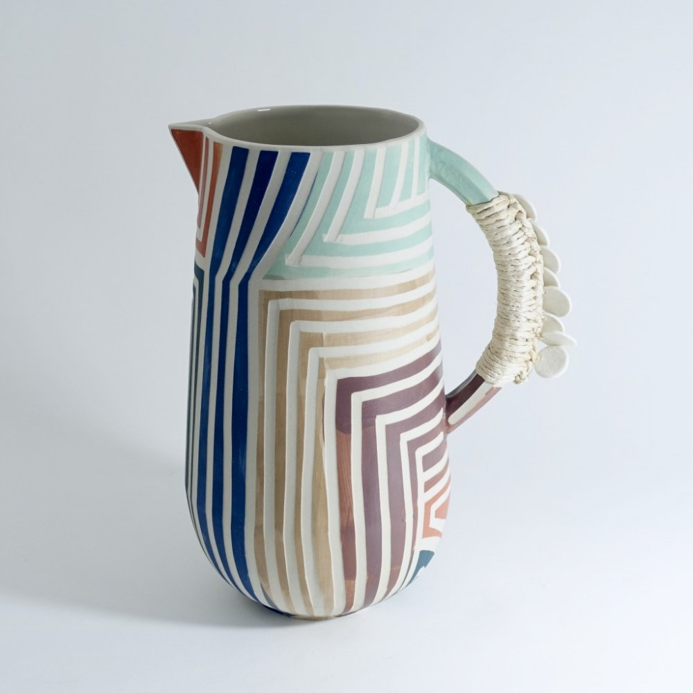 tall striped jug