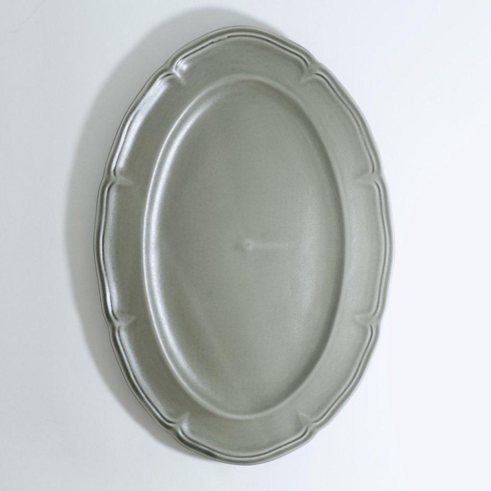 ピューターオーバルリム皿 ススグレー
