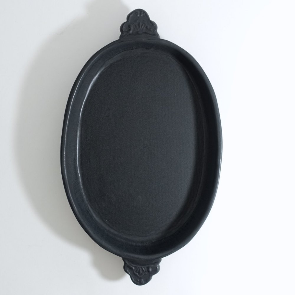 オーバル耳付き耐熱皿 黒