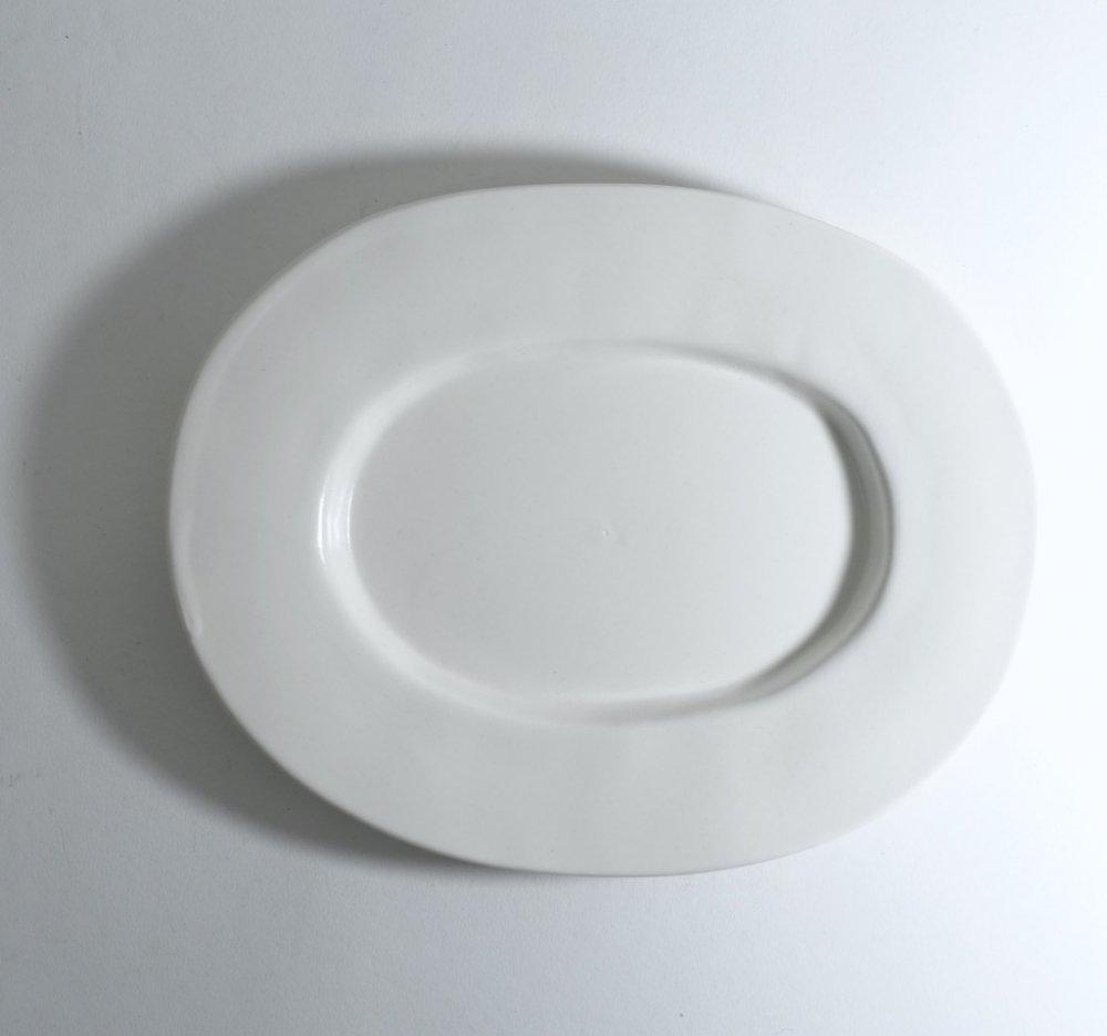 ラウンドオーバル皿(中) 白釉