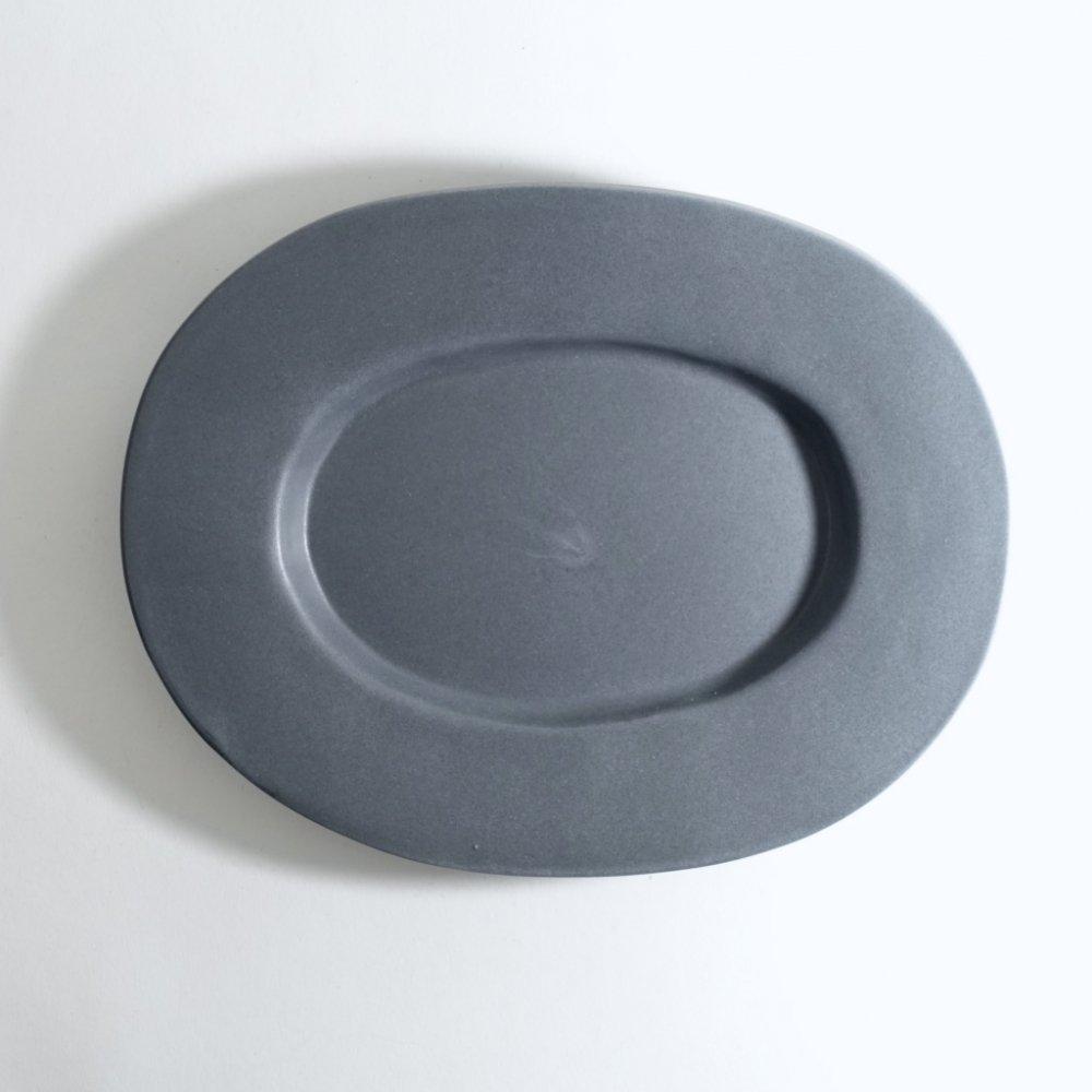 ラウンドオーバル皿(中) ネイビーグレー