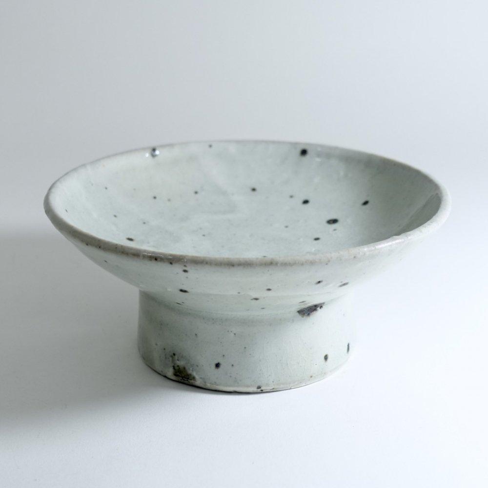 灰釉粉引5寸台鉢