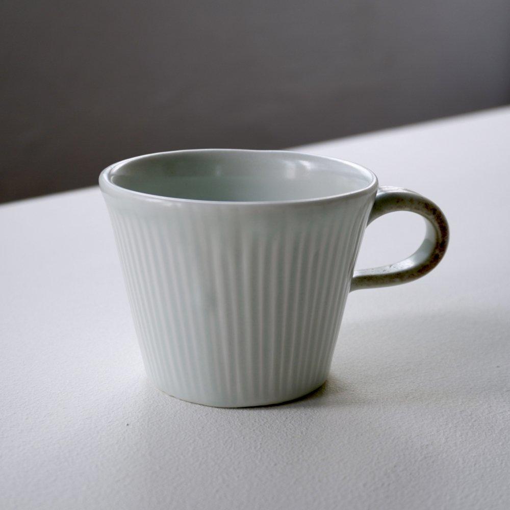白磁刻線コーヒーマグ