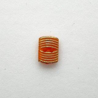 ヴィンテージガラスボタン(レクタングル・オレンジ)