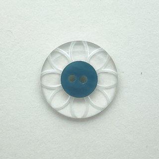 ヴィンテージプラスチックボタン(クリア×ブルー)