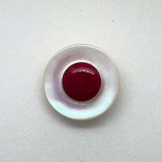 ヴィンテージシェルボタン(ホワイト×レッド)