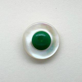 ヴィンテージシェルボタン(ホワイト×グリーン)