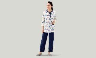 綿混カラーリーフ柄パジャマ