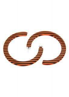 Orange ストライプフープピアス