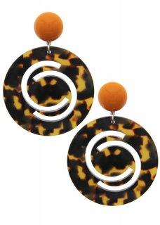 Orange × Brown / Light Brown イヤリング
