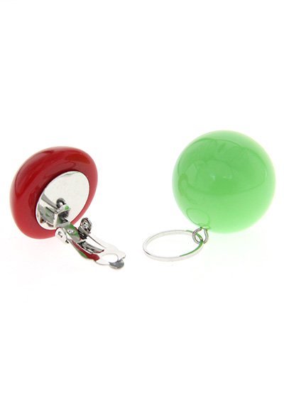 Red & Pop Green ボールイヤリング