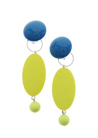 Peacock Blue & Lemon オーバルイヤリング