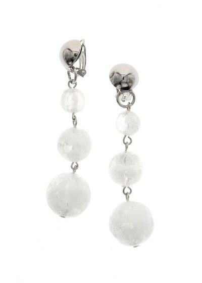 Silver &White Glitter スリープラネット ピアス