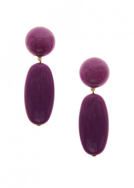 Purple オーバルイヤリング