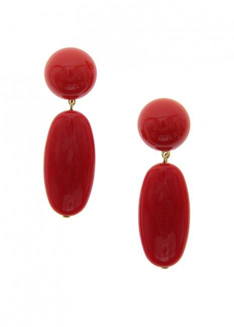 Red オーバルイヤリング