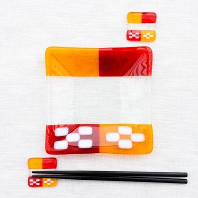 琉球ガラス ミンサープレート&箸置きセット