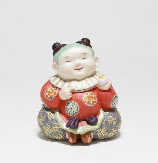 人間国宝 鹿児島寿蔵  『菊華唐子』  紙塑人形 共箱 銘有 鑑定書有