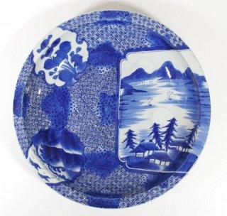 古伊万里 『染付花鳥山水図大皿』 径41cm 丸皿 飾皿