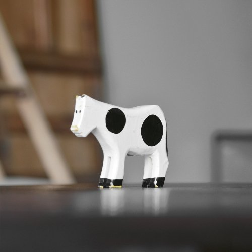 Wooden Cow Figure