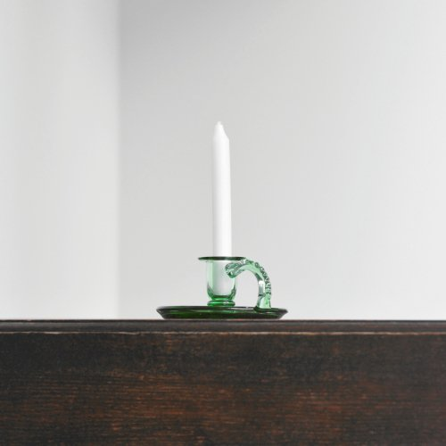 Green Glass Candlestand
