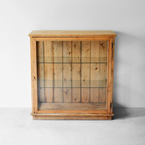 Pine Wood Glass Cabinet