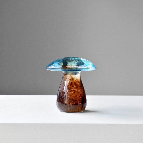Blue & Brown Glass Mushroom