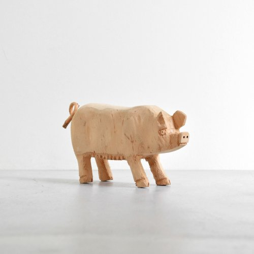 Wooden Pig Figure