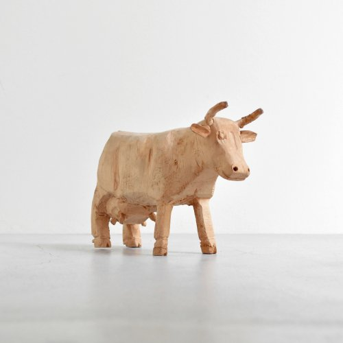 Wooden Cow Figure