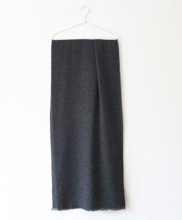 ウール・カシミヤマフラー 平織り/チャコールグレー