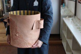 仁子鞄 革のポット大/もち手