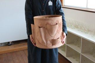 仁子鞄 革のポット大/ポケット