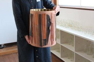 仁子鞄 革のポット大/タテシマ