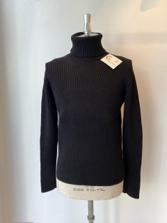 CORGI  8ply mercerized cotton roll neck pullover  black