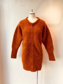CORGI  2ply punk yarn zip up cardigan  orange