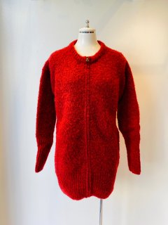 CORGI  2ply punk yarn zip up cardigan  chianti red
