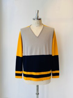 SCOTT & CHARTERS  cashmere v neck knit  beige x yellow x black