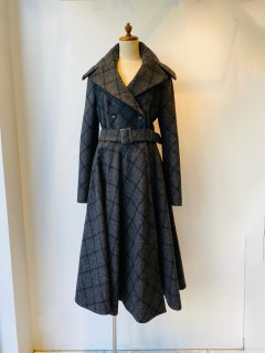 ELZA WINKLER   wool grey checkered dress coat