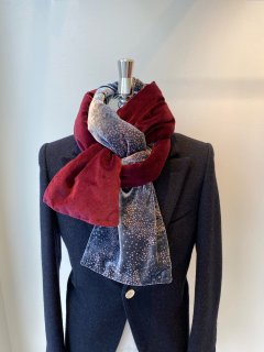 Georgina von Etzdorf  silk velvet x cotton velvet muffler black/red x wine