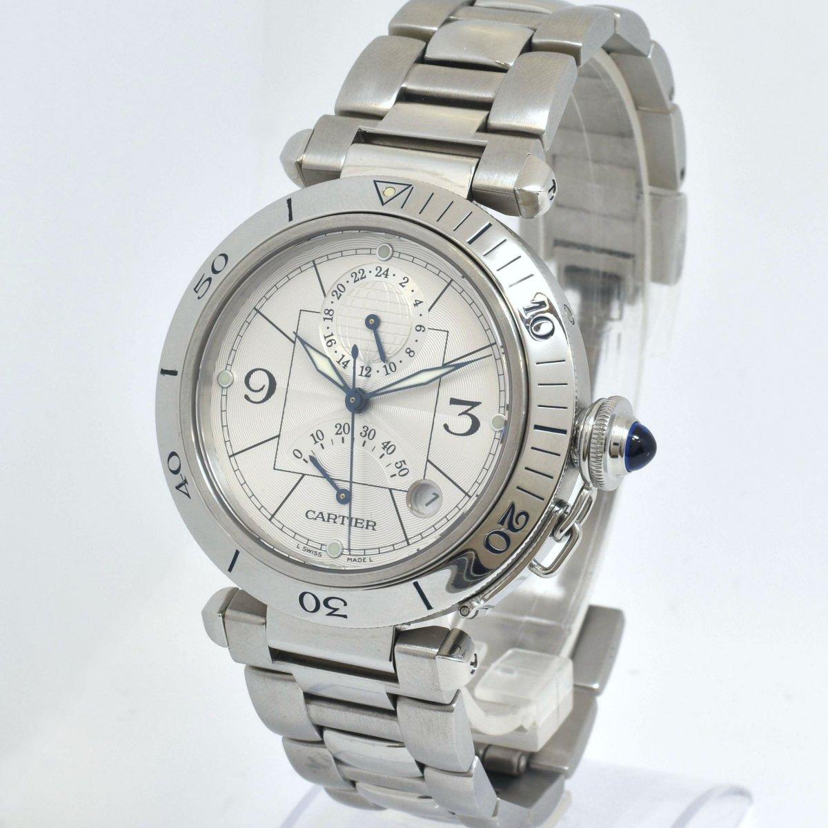 カルティエ/パシャ/GMT/パワーリザーブ/W31037H3/オートマチック/腕時計/CARTIER/男性用/メンズ/OH済↑