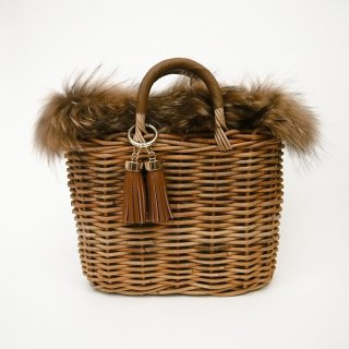 Furry Basketry Tote #Brown
